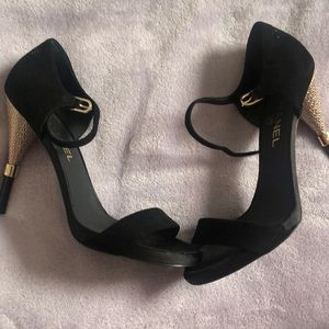 Black and Gold Chanel Heels